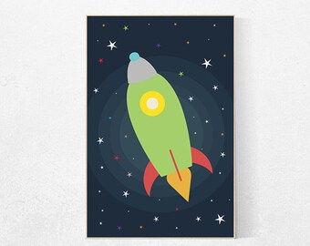 Rocket ship, space themed nursery, Kids room decor, outer space kids, outer space decor, space nursery decor toddler baby