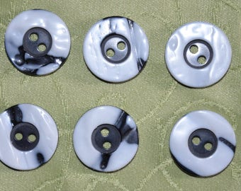 set of 6 blue and white fancy buttons