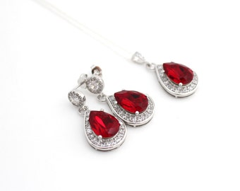 Red Wedding Teardrop Earrings, Bridal Earring and Necklace Set, Siam Swarovski Bridal Statement Earring, Bridal Jewelry Set, Wedding Jewelry