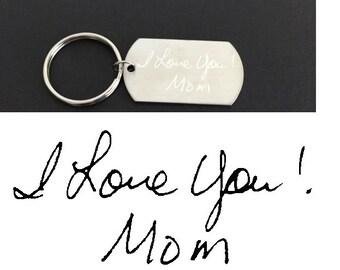 Handwriting Key Chain. Engraved Handwriting Dog Tag. Large Dog Tag Key Chain. Actual Handwriting Key Chain.Personalized Handwriten Key Chain