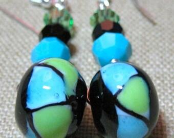 Roller Earrings in Black, Turquoise & Green - E757