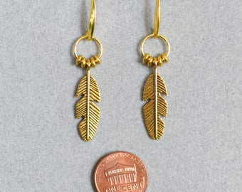 Gold Feather Charm Drop Earrings