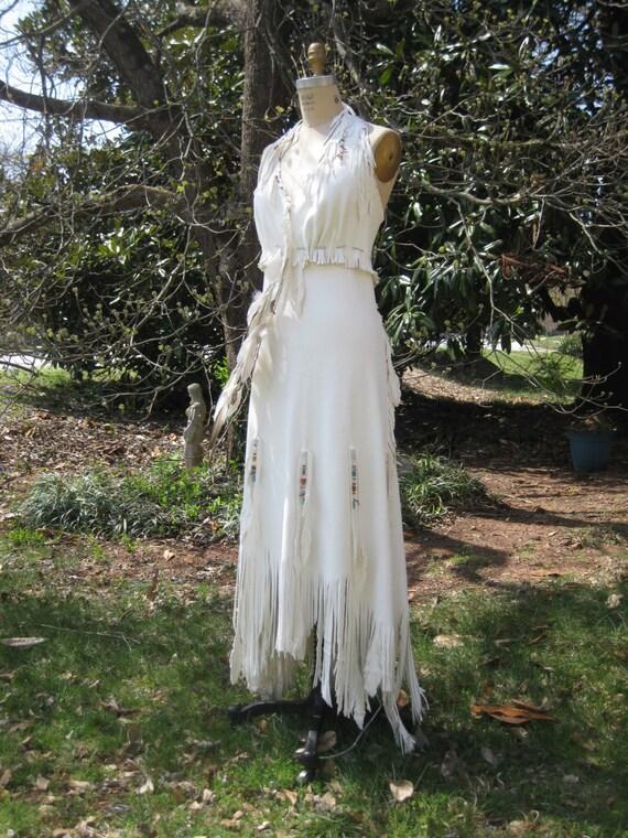 White Leather Wedding Dress Native American Inspired Boho