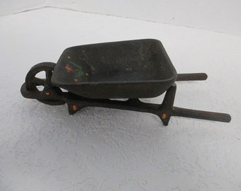 Vintage  Cast Iron 2 piece wheel barrow utilty soap holder Kitchen or bath home decor used fair condition some rust