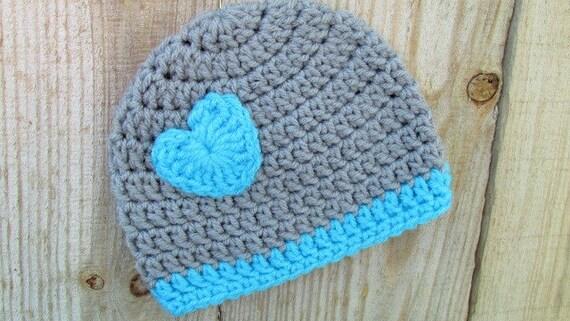 Grey Preemie Hat Crochet Preemie Heart Hat Micro Preemie