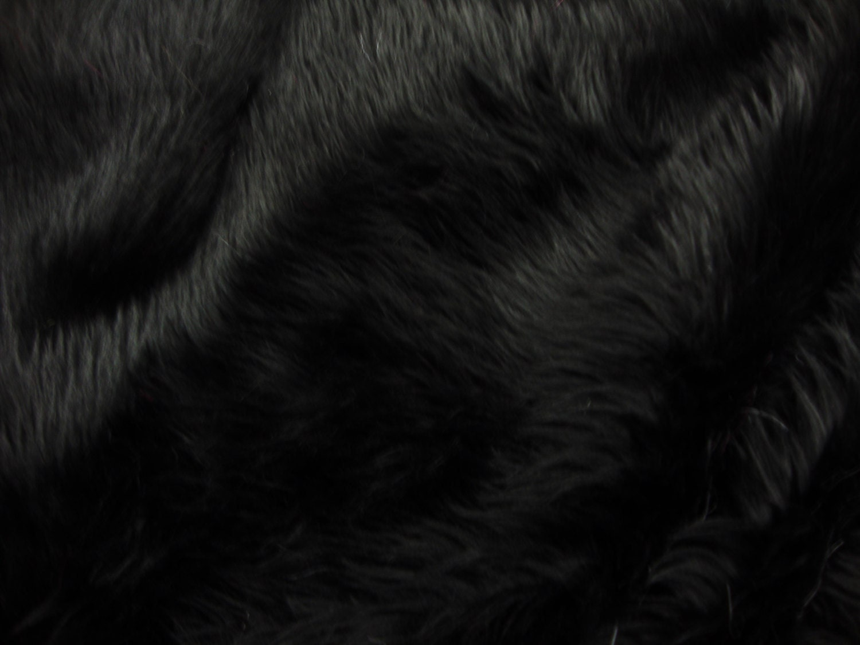 Black Shaggy Fur Faux Fur Rug Rectangle Shape Plush Soft