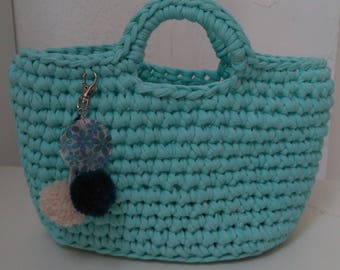 Green Tote with water, Tote, beach tote bag for weekend bag with tassels decoration