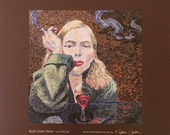 Joni Mitchell, Both Sides Now, album cover, print, of hand embroidered original, on brushed copper, 13x13