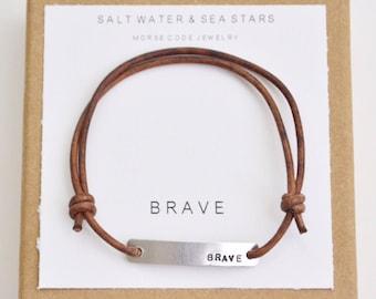 Hand stamped bracelet, brave bracelet, leather wrap bracelet, stamped bracelet, leather bracelet, hand stamped jewelry, custom bracelet
