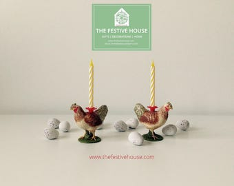 Chicken Candle Holder, Chicken Cake Topper, Birthday Candles, Animal Candle  Holders, Easter