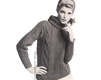 Knit Aran Sweater Pattern Womens Pullover Sweater Knitting Pattern Cowl Neck Jumper Cable Knit Sweater PDF Instant Download - K65