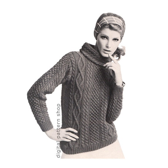 Knit aran sweater pattern womens pullover sweater knitting pattern knit aran sweater pattern womens pullover sweater knitting pattern cowl neck jumper cable knit sweater pdf instant download k65 from digitalpatternshop on dt1010fo