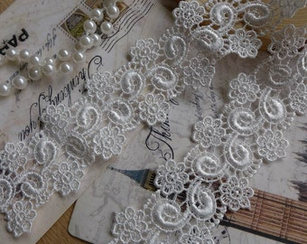 """Retro Venice Lace Trim White Floral Embroidery Lace 1.38"""" wide 2 Yards"""