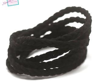 """1 meter """"braided"""" Suede, 5 x 2, 5 mm, black"""