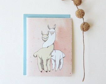 "Love / Friendship Card - ""I llama You"" - romantic animal love"