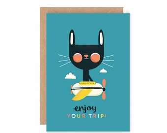 Enjoy Your Trip Greetings Card - Cute Illustration / Blank Greetings Card / Hand Lettering