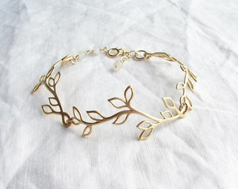Matte Gold Laurel Leaf Bracelet. Dainty Matte Gold Twig with Moonstone. June Birthday. Bridesmaid Gift. Simple Modern Jewelry by PetitBlue