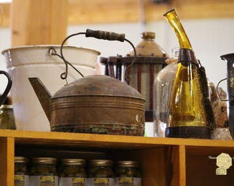 Antique Teakettle And Amber Bottle Country Kitchen Cottage Chic Photograph Wall Art Wall Hanging Home Decor Rustic