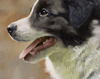 Aceo Dog Print, Border Collie Puppy. From an Original Painting by JOHN SILVER. Personally signed. BC001AC