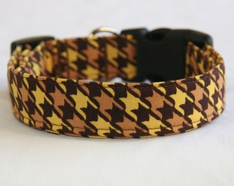 Dog Collar-Brown and Yellow Houndstooth- Adjustable Dog- Pet Collar- Pet Supplies- Accessories