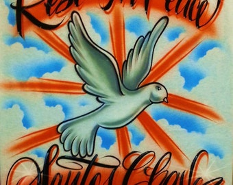 Airbrush T Shirt Rest In Peace Dove With TWO-WORD Name, Rest In Peace Shirt, Rest In Peace, In Memory Shirt, Loving Memory Shirt, Airbrush