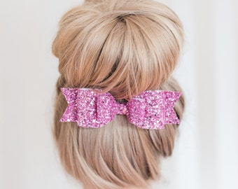 Girl and adult Oversized Candy Pink Glitter fabric bow hair clip - so Sparkly!!
