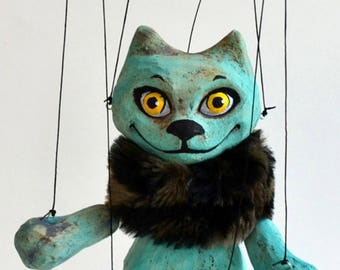 "Turquoise cat marionette. Handmade clay puppet 7"". Animal that loves hiding, small marionette with fur, wooden controller, strings"