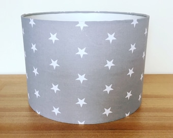 Handmade Fabric Lampshade, Grey with White Stars. Perfect for a Nursery