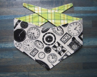 XS reversible tie on dog bandana - Black and white clocks/green plaid Kanine Kerchief