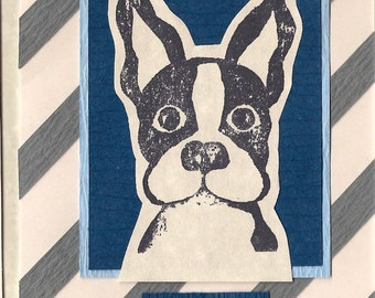 Hand carved hand stamped Boston terrier I Miss You card, with textured cardstock
