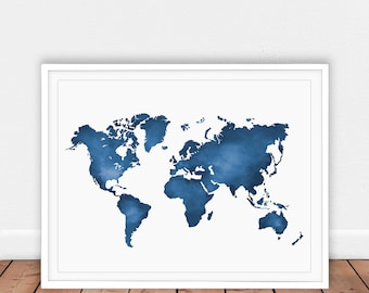 Blue world map etsy world map print blue watercolour print map watercolor map printablemap of gumiabroncs Gallery
