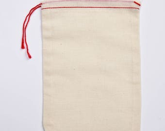 100 5x7 Cotton Muslin Red Hem and Red Drawstring Bags