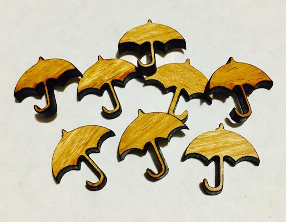 Laser Cut Supplies-8 Pieces. Umbrella Charms - Laser Cut Wood Shapes -Earring Supplies- Little Laser Lab Sustainable Wood Products