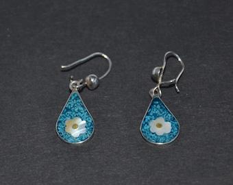 Sterling Silver Earrings - Mosaic Flower Pattern