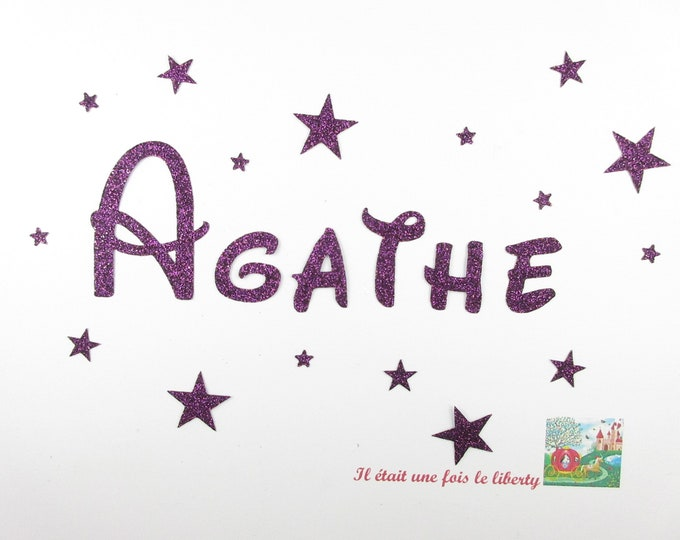 Applied fusible customizable glitter name of 6 letters (example Agathe) glitter fabric (colors)