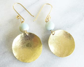 Pale blue amazonite and brass dangle earrings, gold filled ear wires