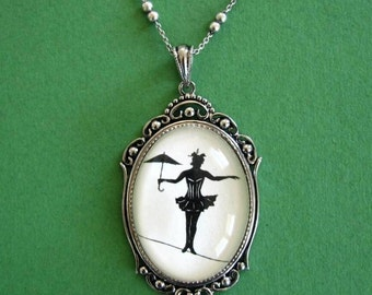 Elvira on a Tightrope Necklace, pendant on chain