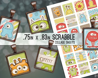 Monsters Colorful Digital Collage Sheet Scrabble Tile .75x.83 Images 4x6 8.5x11 Download Sheets for Glass Resin Pendants E0069
