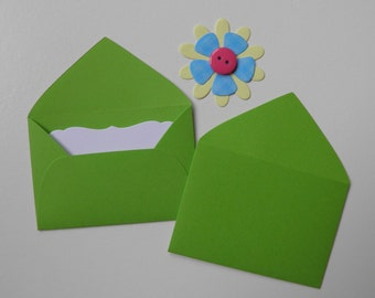 Green Mini envelopes with inserts, Paper ephemera, Paper embellishments, Journaling, Project Life, Little party favors, Sets of 10, 25, 50