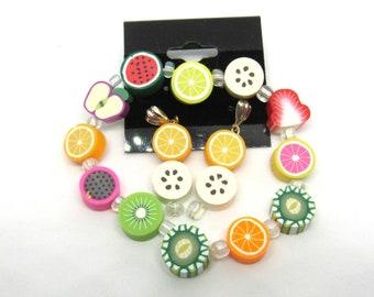 Children's Handmade Polymer Clay Fruit Slice Stretch Bracelet/ Pierced Earring Set (J1d1)