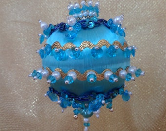Vintage Christmas Beaded Ornament -- Turquoise, Blue With Pearls and Sequins -- Tree Bling