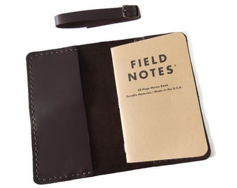 Leather Field Notes Cover, Travel Journal, Field Notes Wallet, Notes Cover, Moleskine Cover, Brown or Black Italian Leather, Hand Stitched