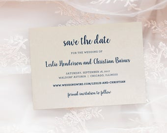 Elegant Shimmer Wedding Save The Date Engagement Announcement Printed Cards with Envelopes - Keepsake Suite