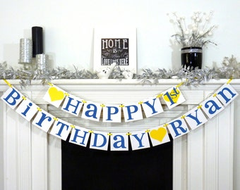 Happy Birthday / Birthday Party Banner / Happy Birthday Decorations / Photo Prop / Office Party / Garland / Navy Blue / Boy Color Combo