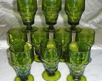10 Vintage Anchor Hocking Green Pedestal Georgian Honeycomb Thumbprint Tumblers ~5 1/2in ~ These Need TLC