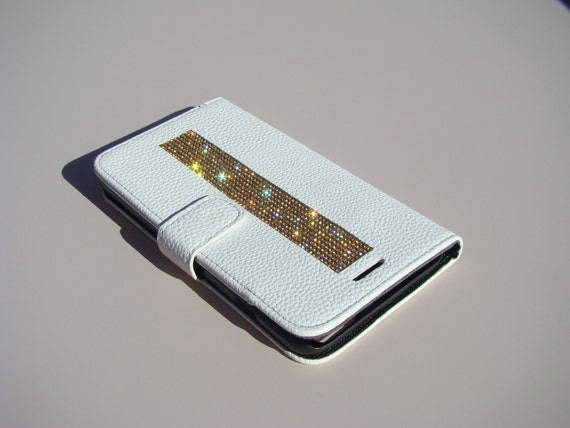 iPhone 6 Plus Wallet Case/ iPhone 6s Plus Wallet Case Gold Topaz Rhinestone Crystals on White Wallet Case. Velvet/Silk Pouch bag Included, .