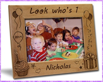 5x7 Personalized Custom Engraved Kid's First Birthday Picture Frame