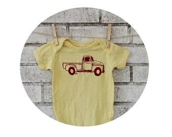 Classic Truck Baby Onepiece, Cotton Infant Bodysuit, Butter Yellow, Lap Shoulder Shirt, Baby Clothing, Pick Up, Automobile, Vintage Car Show