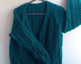 Green Knitted Woollen Cardigan/Sweater with Pockets