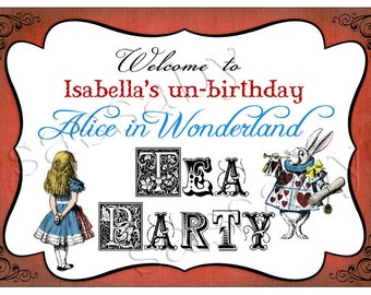 Alice in Wonderland Party Sign - INSTANT DOWNLOAD - Editable & Printable Birthday Party Decorations by Sassaby